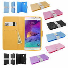 Samsung Galaxy Note 4 Bling Diamond Wallet Case Flip Pouch Cover + Screen Guard