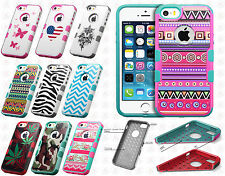 For Apple iPhone 5 5S TUFF MERGE HYBRID Case Skin Phone Cover + Screen Guard