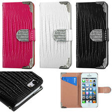 Apple iPhone 5C Premium Leather Wallet Case Flip Crocodile Skin + Screen Guard
