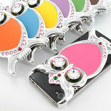 For iPhone 4 4G 4S Colorful 3D Owl Rhinestone Crystal Bling Chrome Bumper Case