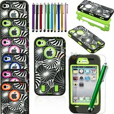 NEW Heavy Duty Hybrid Rugged Rubber Combo Matte Hard Case For iPhone 4 4S +Gifts