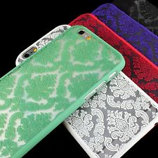 "For iPhone 6 4.7"" Plus 5.5"" Damask Vintage Pattern Rubberized Matte Hard Case"