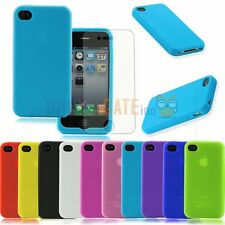 Fashion Soft TPU Silicone Transparent Clear Case Cover For iPhone 4 4S+Free Film