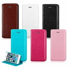 Color Leather Wallet Card Holder Case Cover Folio Flip Pouch For iPhone 5 5S