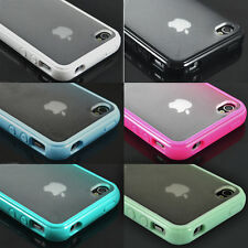 TPU Bumper Frame With Matte Clear Hard Back Skin Case Cover for iPhone 4 4S