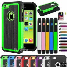 Hybrid Rugged Impact Rubber Matte Hard Case Cover for iPhone 5C w, Scr