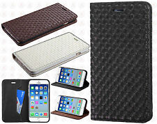 Apple iPhone 6 4.7 Premium Leather Wallet Pouch Textured Flip Case +Screen Guard
