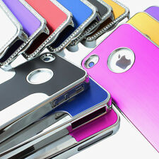 For Apple iPhone 4 4S 4G Luxury Brushed Aluminum Chrome Hard Back Cover Case