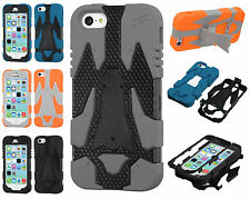 For Apple iPhone 5C Cyborg HYBRID KICKSTAND Rubber Case Phone Cover