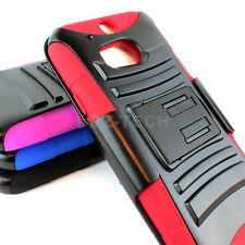 For HTC One M8 , One 2 (2014) Rugged Hybrid Hard Case Cover Belt Clip