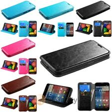 Leather Wallet ID Folio Flip Pouch Case Cover Stand for Motorola Moto G2 2014