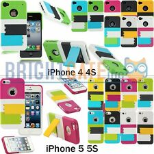 Multi-Color Double Stand Hard PC Case Cover For Apple iPhone 4 4S iPhone 5 5S 5G
