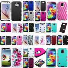 For Samsung Galaxy S series S3 S4 S5 S6 TUFF Hybrid Case Skin Hard Rubber Cover