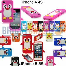 For iPhone 4 4S iPhone 5 5S Penguin Soft Silicone Rubber GEL Jelly Case Cover