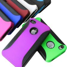 For Apple iPhone 4 4S 4G Dual Flex Hybrid TPU Hard Cover Case+Screen Protector