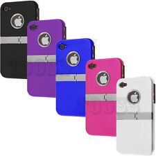 DELUXE RUBBER HARD COVER CASE W, CHROME STAND For Apple iPhone 4 4S 4G