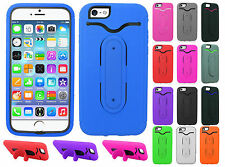 Apple iPhone 6 4.7 Rubber Hybrid HARD Phone Cover Case Snap Tail STAND Accessory