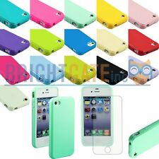 Slim Snap-on JELLY TPU Plain Rubber Case Cover For Apple iPhone 4 4S with Films