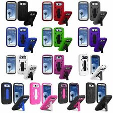 Hybrid Heavy Duty Hard/Soft Case Cover Stand For Samsung Galaxy S3 III i9300