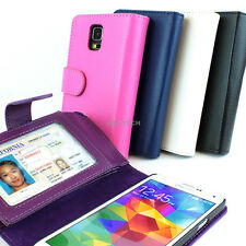 For Samsung Galaxy S5 SV Flip ID Holder Wallet PU Leather Card Slot Case Pouch