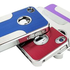 For Apple iPhone 4 4S 4G Luxury Brushed Aluminum Chrome Hard Back Case Cover