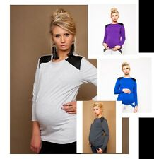 PREGNANCY MATERNITY TOP WITH BLACK QUILTING LONG SLEEVE SIMPLE ELEGANT