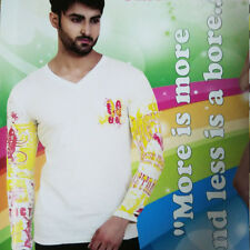 Mens V-Neck Long Sleeves Cotton T-Shirt, Designer TShirt (SKU - JH91536,530,791)