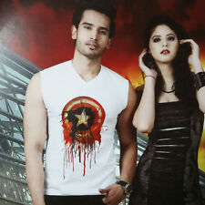 Mens V-Neck Cotton T-Shirt,Sleveless Printed (Size-XL-Chest-42 )( SKU - JV91537)