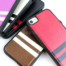 For Apple iPhone 5S 5 Slim Fit Premium Matte PU Leather Hybrid TPU Case Cover