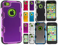 For iPhone 5C Cosmic HYBRID HARD Brushed Metal Rubber Case Phone Cover Accessory