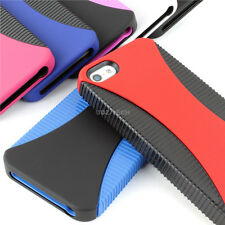 For Apple iPhone 5S 5 Colorful Fishbone Dual Flex Hybrid Hard TPU Gel Case Cover