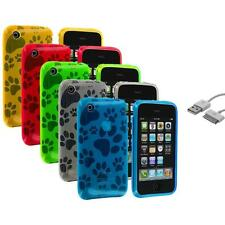 Color Dog Paw TPU Rubber Case Cover+Sync Cable for iPhone 3G S 3GS