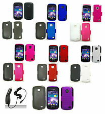 1 Mesh Hybrid Case Cover+Car Charger For Samsung Galaxy Proclaim SCH-S720C Phone