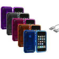 Color TPU Flower Case Cover+Sync Cable for iPhone 3G S 3GS Accessory