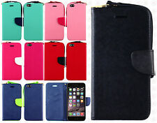 Apple iPhone 6 Plus 5.5 Premium Leather 2 Tone Wallet  Flip Cover + Screen Guard