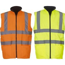 Mens Yoko Waterproof High Visibility Hi Vis Reversible Fleece Body Warmer Jacket