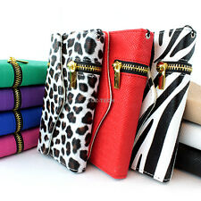 For Apple iPhone 5S 5 Zipper Flip Wallet PU Leather Hybrid Case Cover Pouch