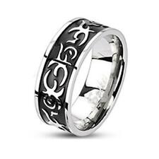 coolbodyart AF ACERO inox. Tribal ANILLO PLATA NEGRO 8mm Ancho