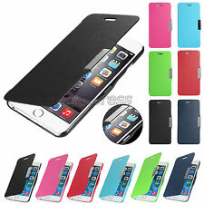 For Apple iPhone 6 6S Luxury Flip PU Leather Slim Hard Back Case Stand Cover