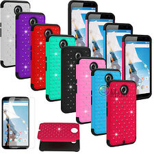 Bling Crystal Diamond Rubber Matte Hard Case Cover For Motorola Nexus