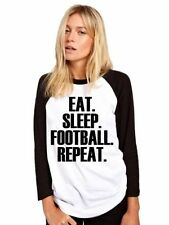 Eat Sleep Football Repeat Maglia Da Baseball Calciatore Regalo Maglietta Camicia