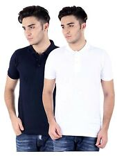 Combo Set Of 2 Men'S Polo T-Shirt 100% Cotton Thick PickDyed(White & Navy Blue )