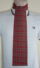 SKINNY RED SCOTTISH TARTAN HANDMADE MOD STYLE SCARF - INDIE SCOOTER 60s RETRO