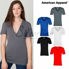 American Apparel Unisex sheer jersey short sleeve deep v-neck
