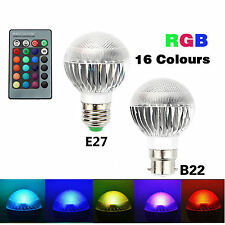 B22 E27 RGB LED Bulb 5W Dimmable 16 Color Changing Light Lamp Remote Control UK