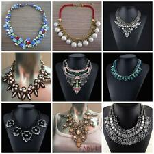 Fashion Charm Jewellery Pendant Chain Gem Collar Chunky Statement Bib Necklace