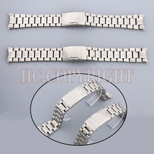 20mm/22mm Curved End Silver Stainless Steel Watch Strap Bracelet For Men