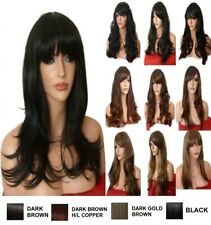 Natural Long Curly Straight Wavy Women Party Brown Wig Highlight Ladies Full WIG