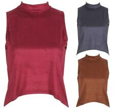 Celebrity Inspired Soft Suedette High Dipped Hem Cropped StretchTop SIZES 8 - 14