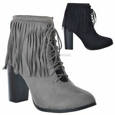 WOMENS LADIES NEW HIGH BLOCK HEEL TASSEL FRINGE CUT OUT LACE UP ANKLE BOOTS SIZE
